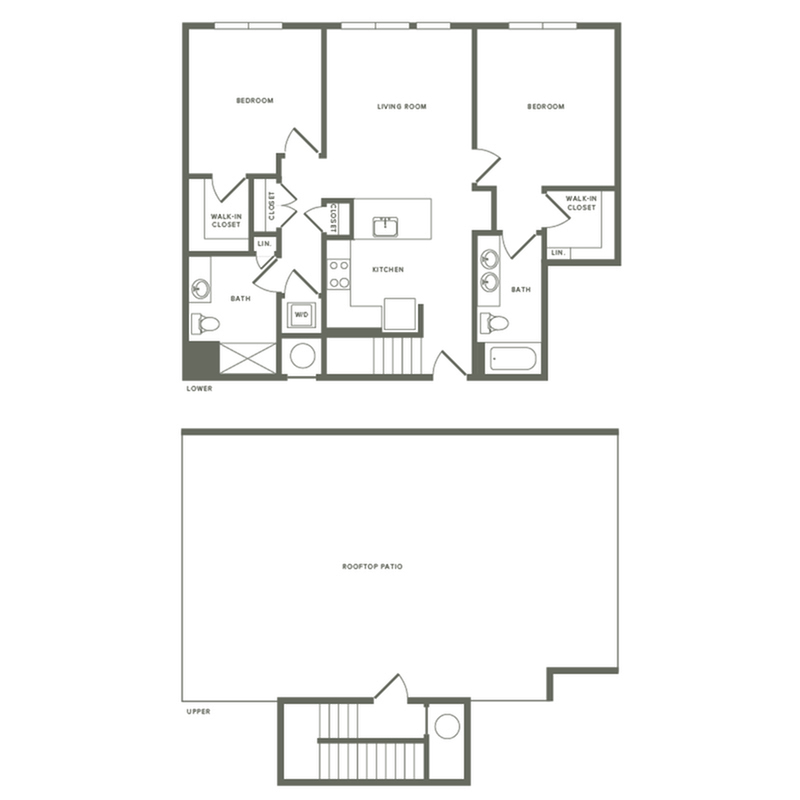 1171 square foot two bedroom two bath with rooftop patio apartment floorplan image