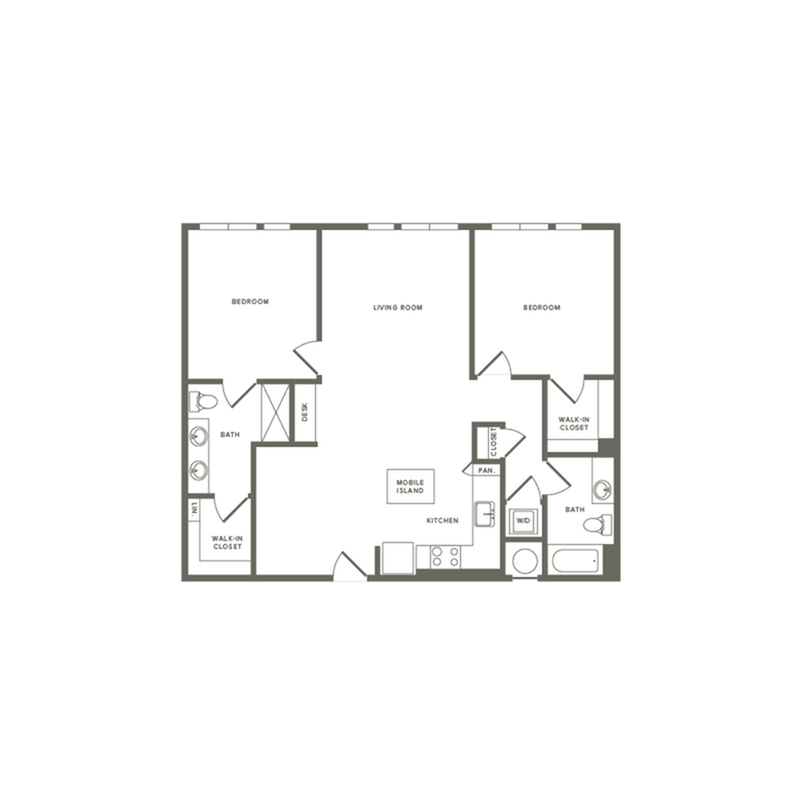 1162 square foot two bedroom two bath apartment floorplan image