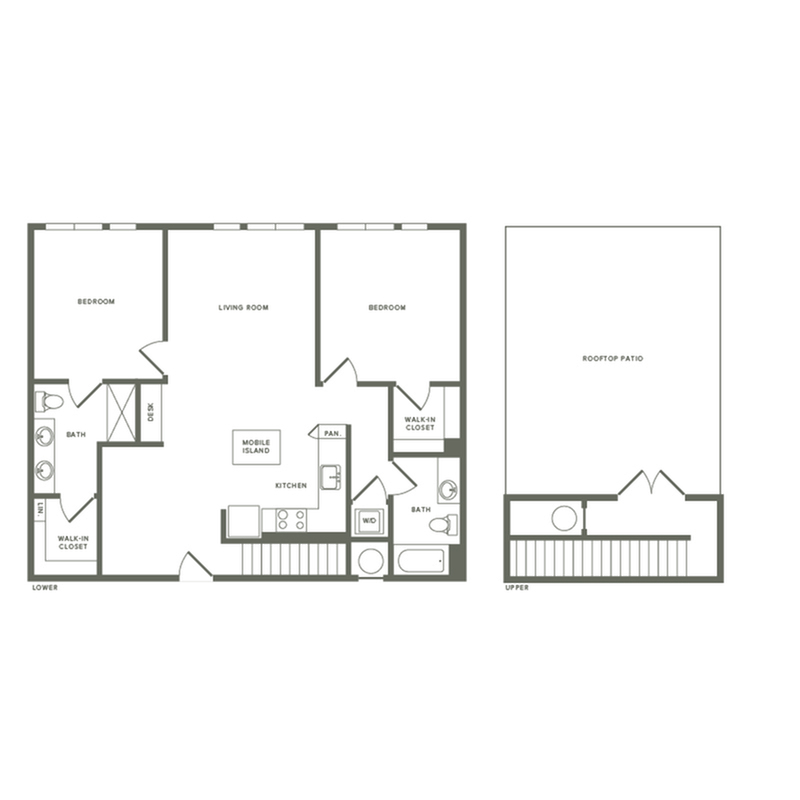 1267 square foot two bedroom two bath with rooftop patio apartment floorplan image
