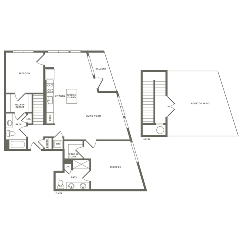1245 square foot two bedroom two bath with rooftop patio apartment floorplan image
