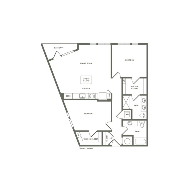 1172 square foot two bedroom two bath apartment floorplan image