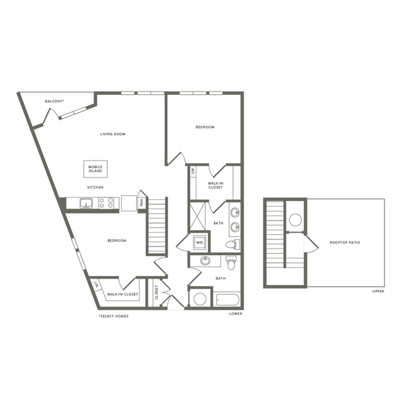 1252 square foot two bedroom two bath with rooftop patio apartment floorplan image