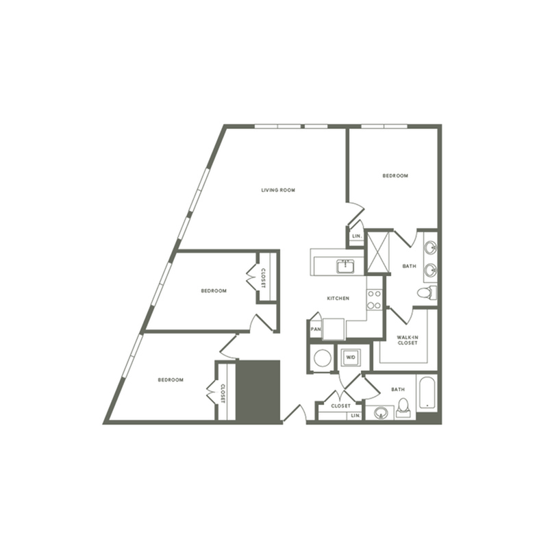 1281 square foot three bedroom two bath with rooftop patio apartment floorplan image