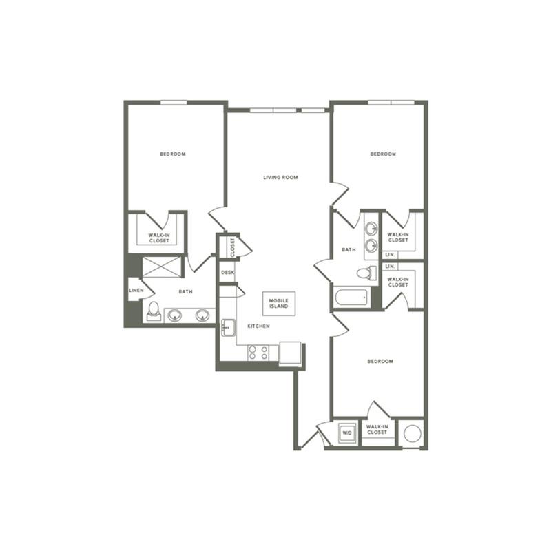 1357 square foot three bedroom two bath apartment floorplan image