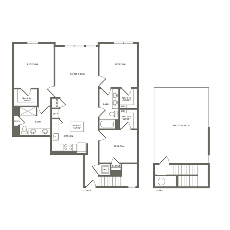 1426 square foot three bedroom two bath with rooftop patio apartment floorplan image