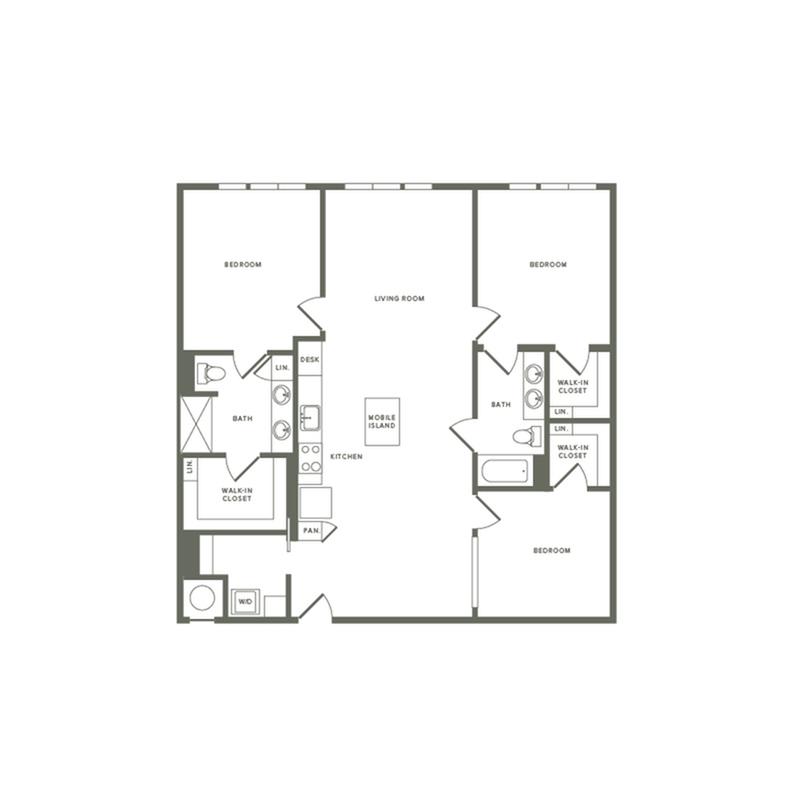 1425 square foot three bedroom two bath apartment floorplan image
