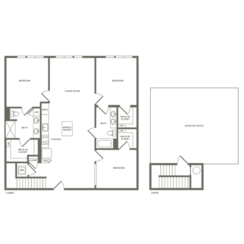 1493 square foot three bedroom two bath with rooftop patio apartment floorplan image