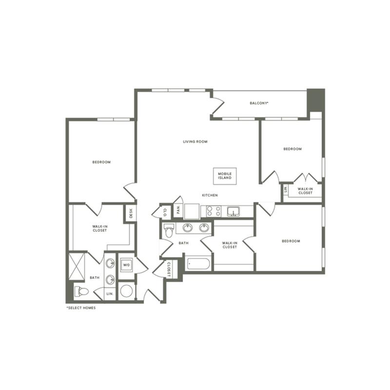 1459 square foot three bedroom two bath apartment floorplan image