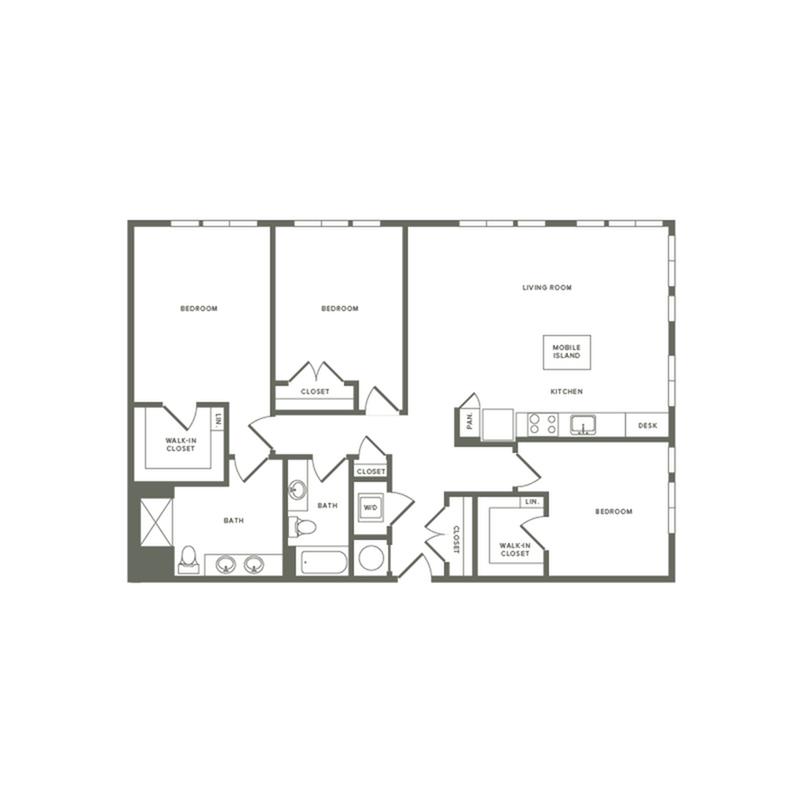 1467 square foot three bedroom two bath apartment floorplan image