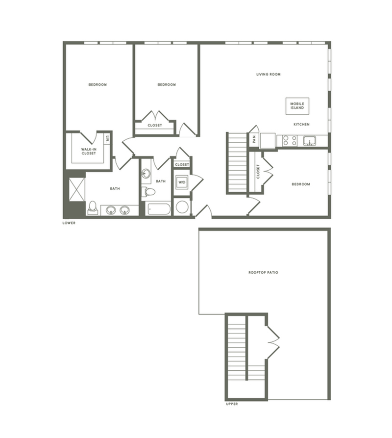 1541 square foot three bedroom two bath with rooftop patio apartment floorplan image