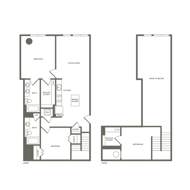 1385 square foot two bedroom two bath with mezzanine apartment floorplan image