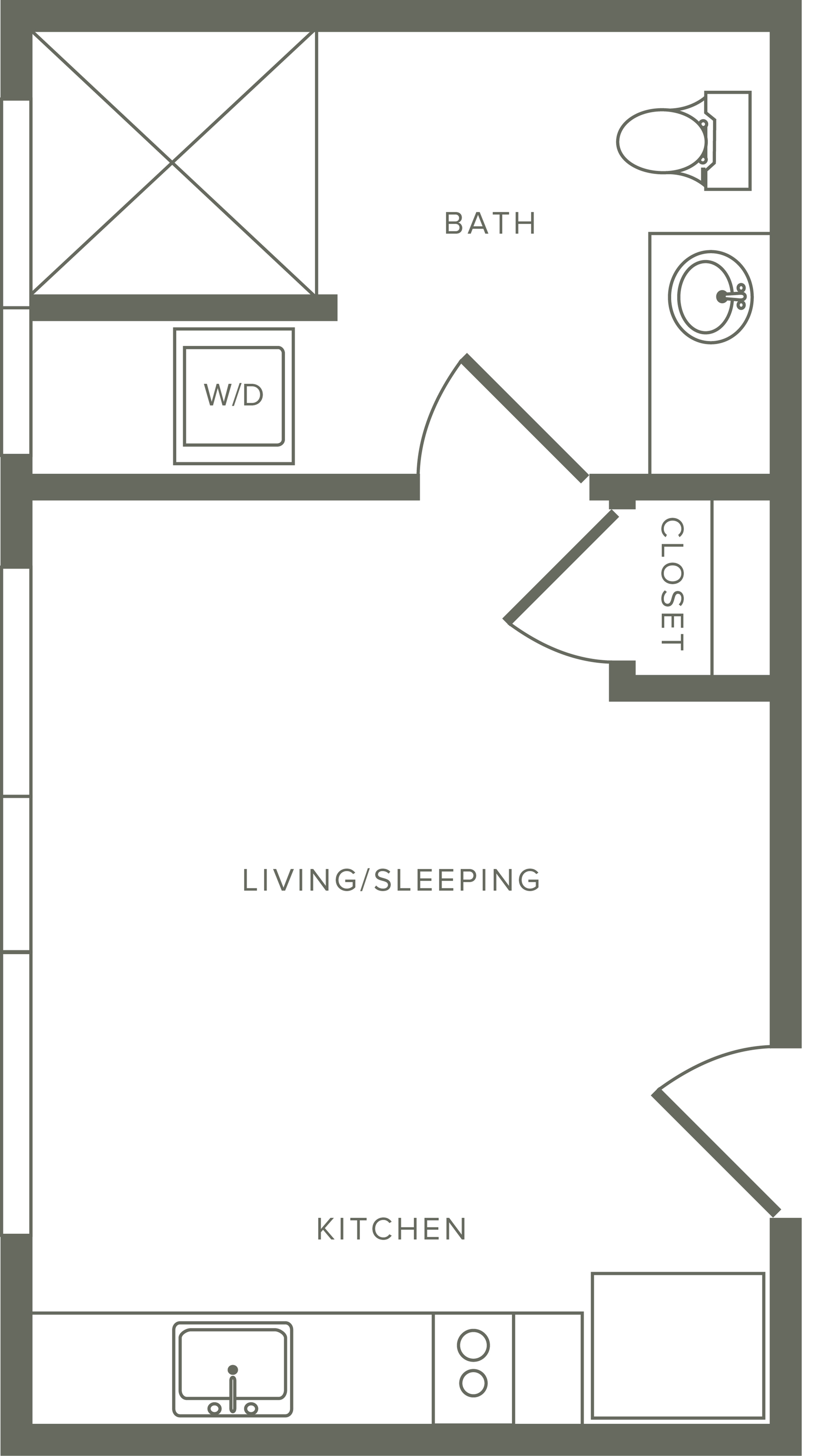 336 square foot studio one bath floor plan image