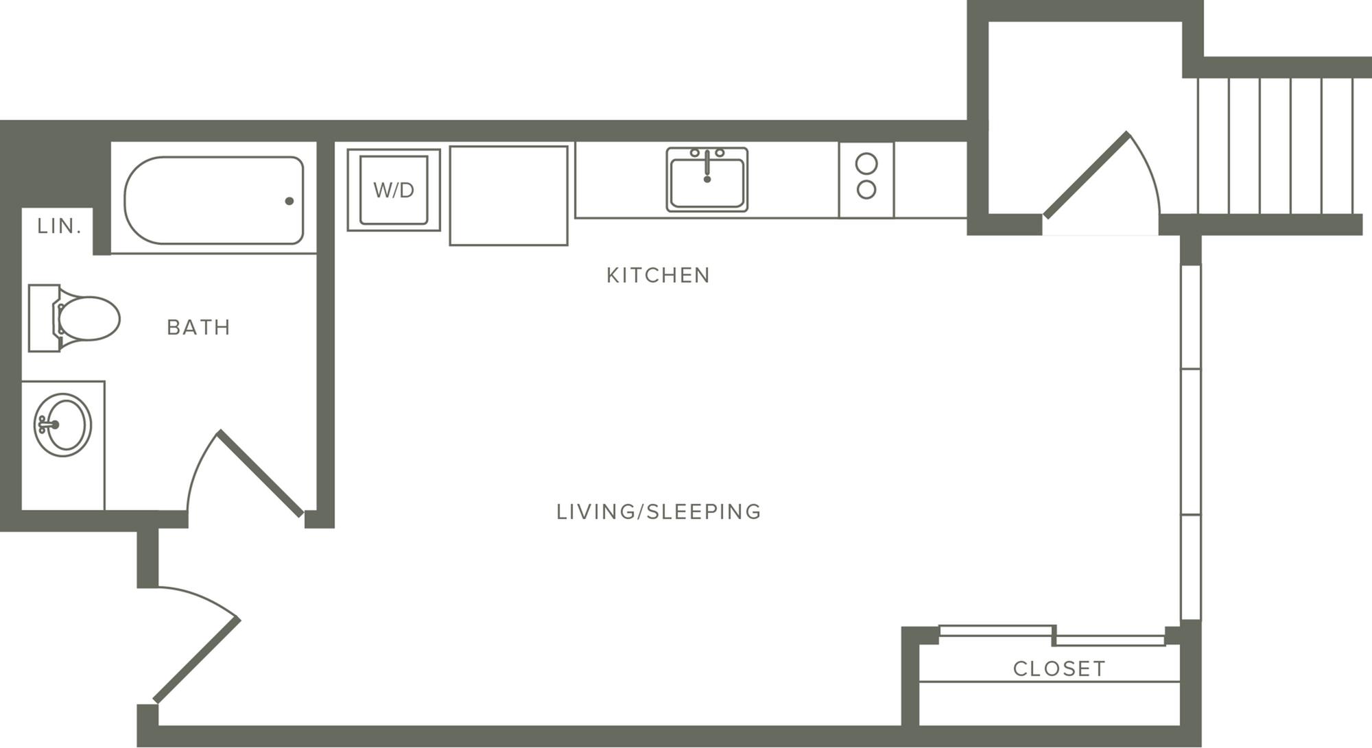 427 square foot studio one bath floor plan image