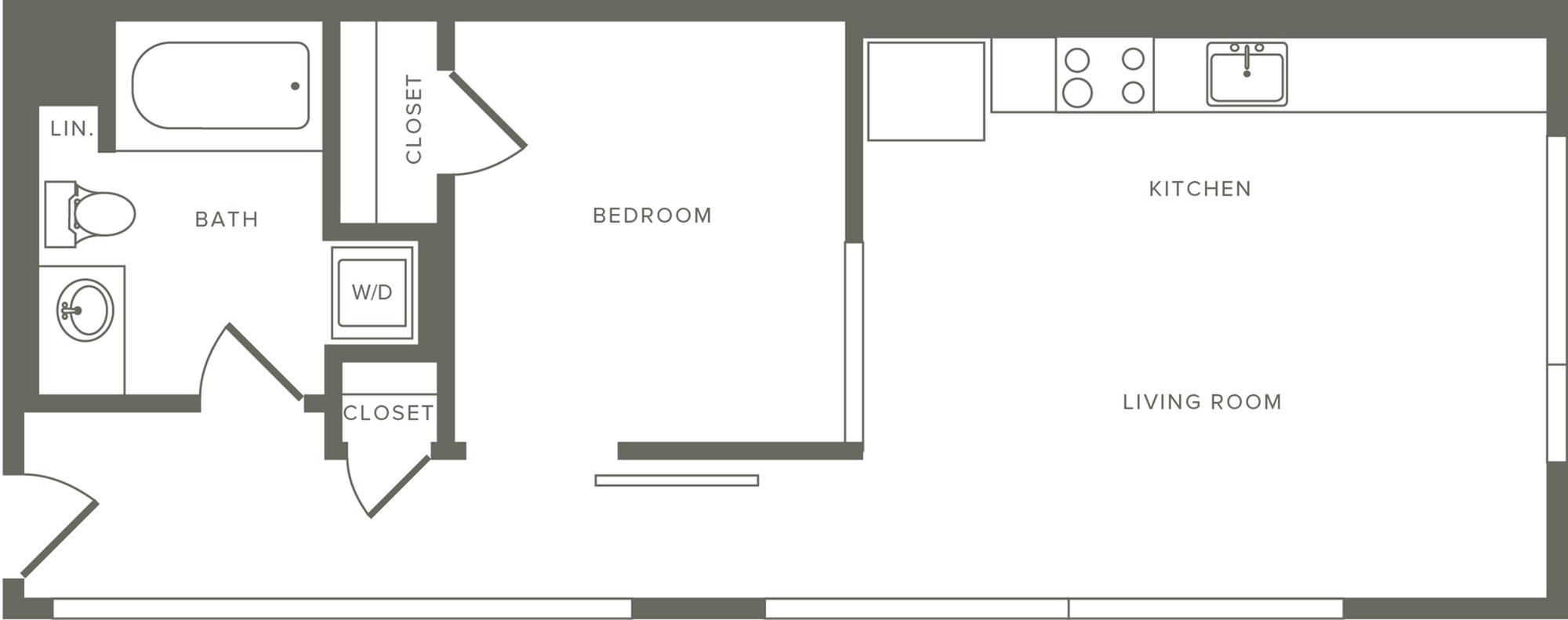 581-637 square foot one bedroom one bath floor plan image