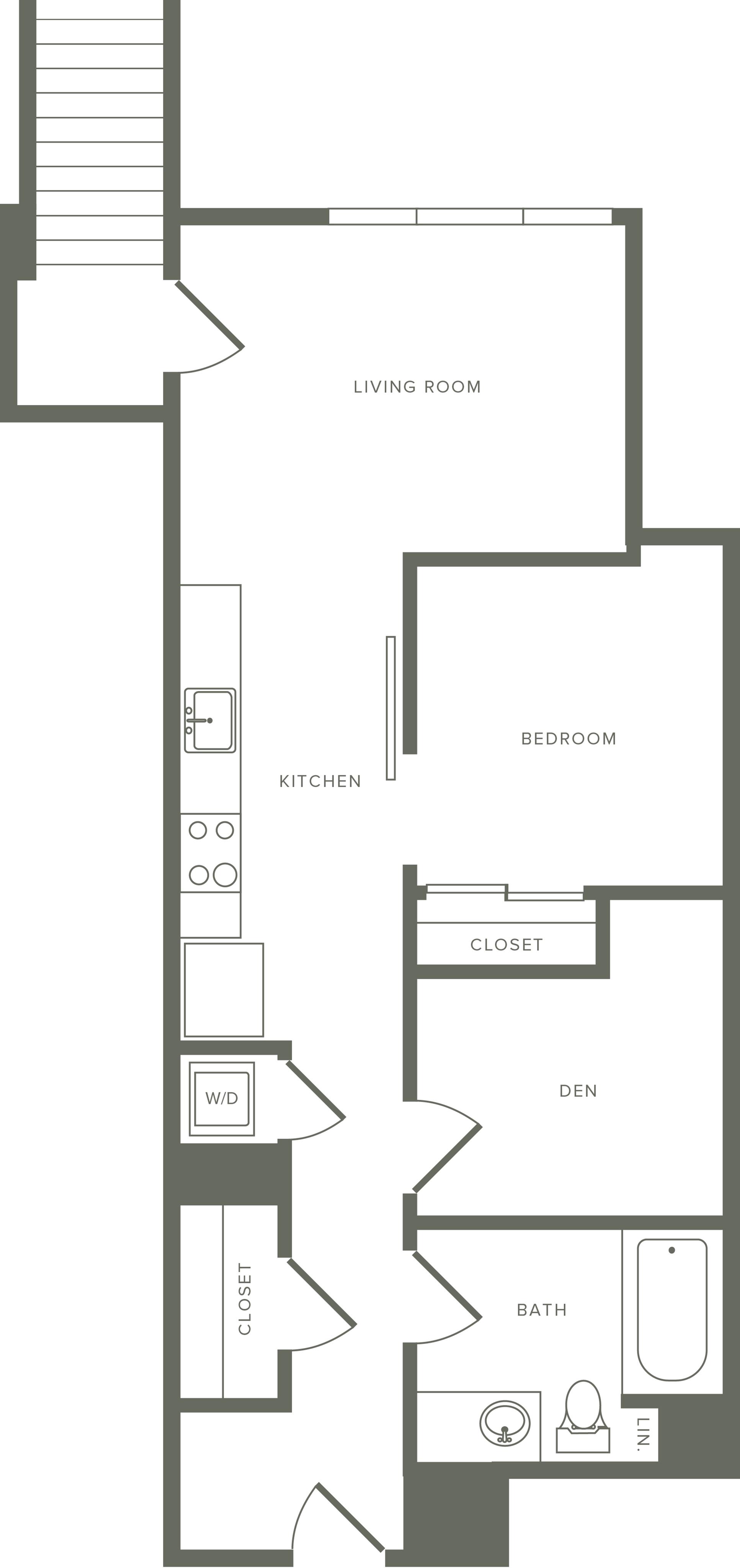 755 square foot one bedroom one bath floor plan image