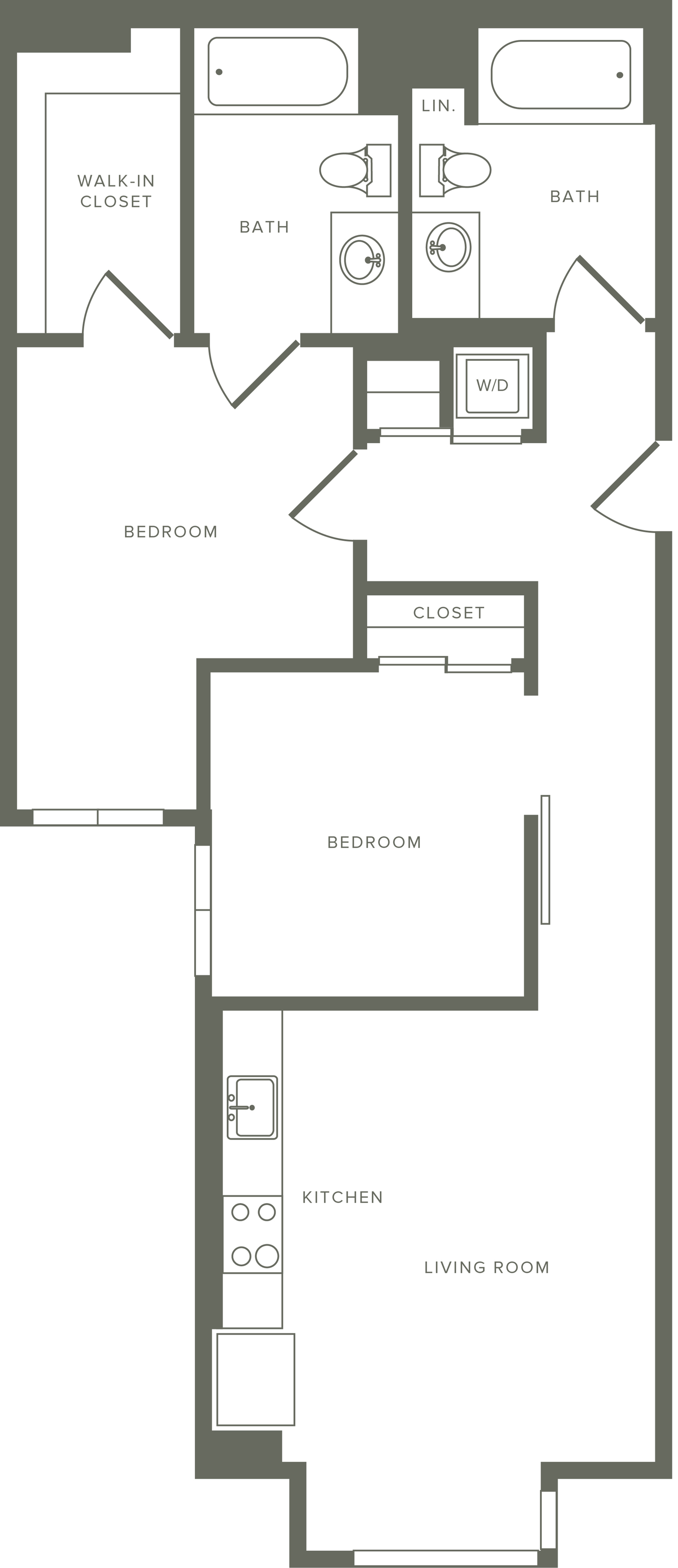 898-925 square foot two bedroom two bath floor plan image
