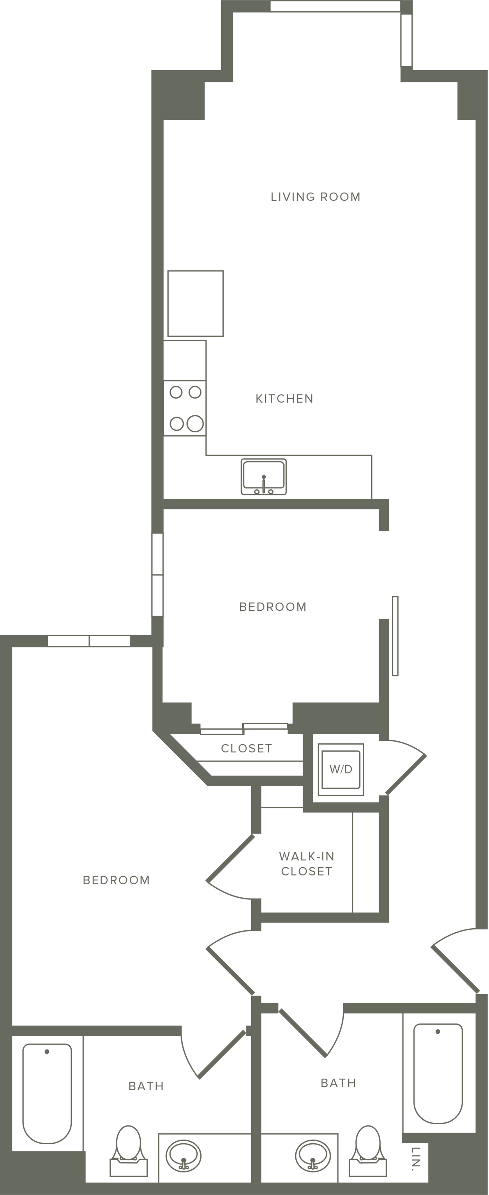 957-960 square foot two bedroom two bath apartment floorplan image