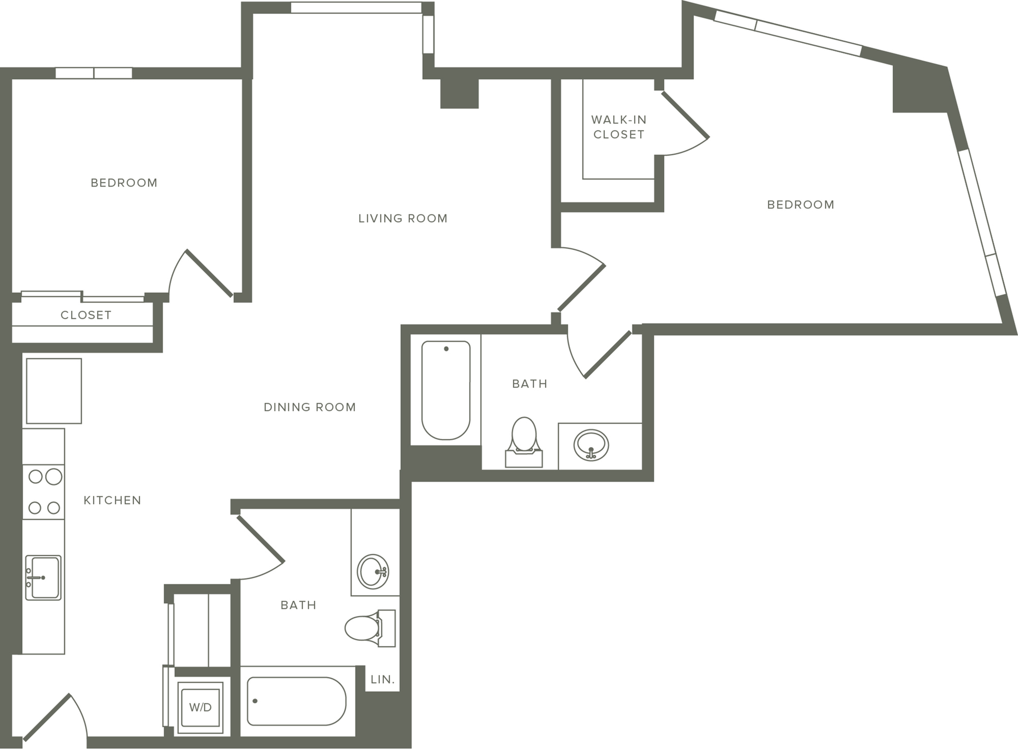 988 to 991 square foot two bedroom two bath apartment floorplan image