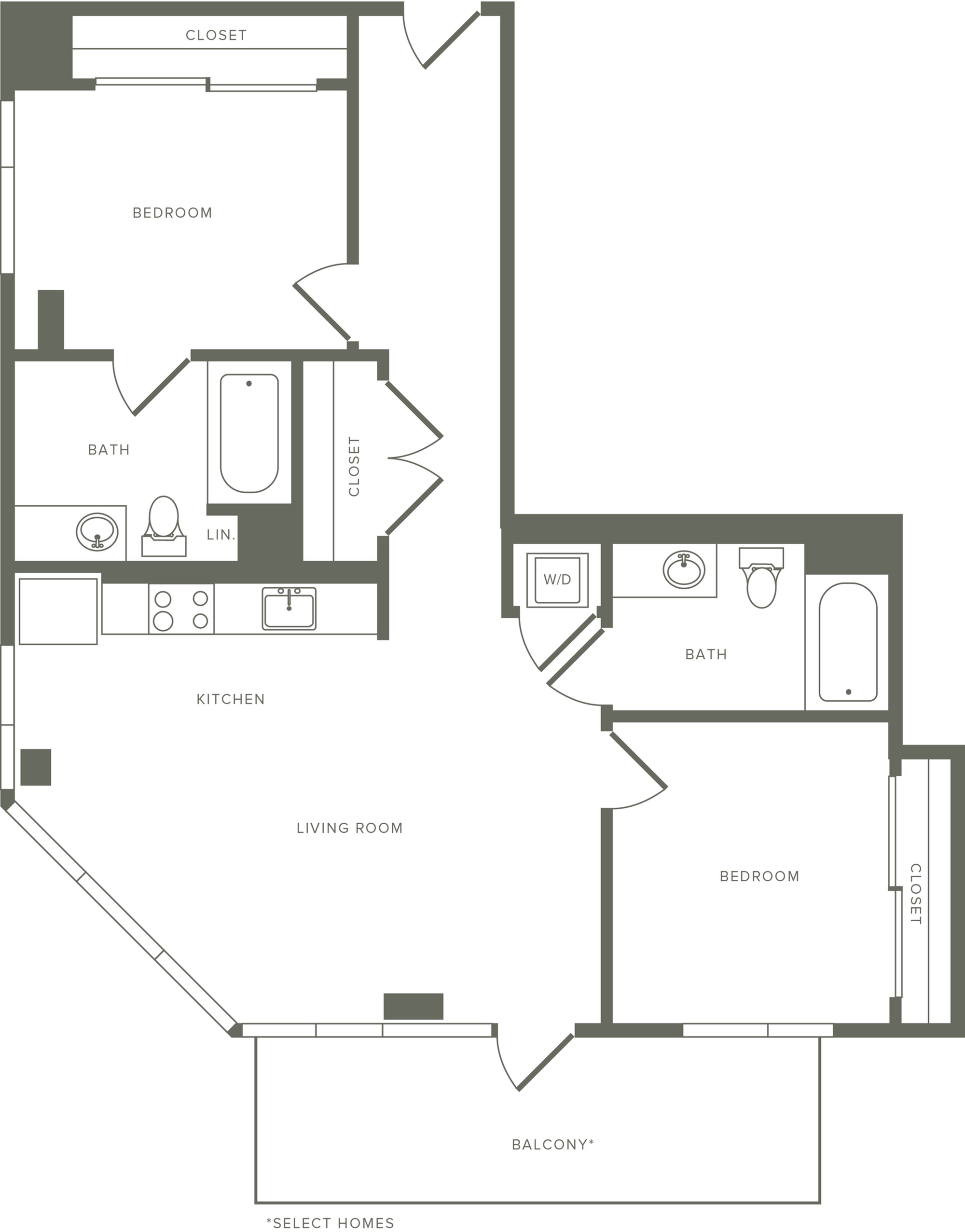 1,007-1,011 square foot two bedroom two bath apartment floorplan image