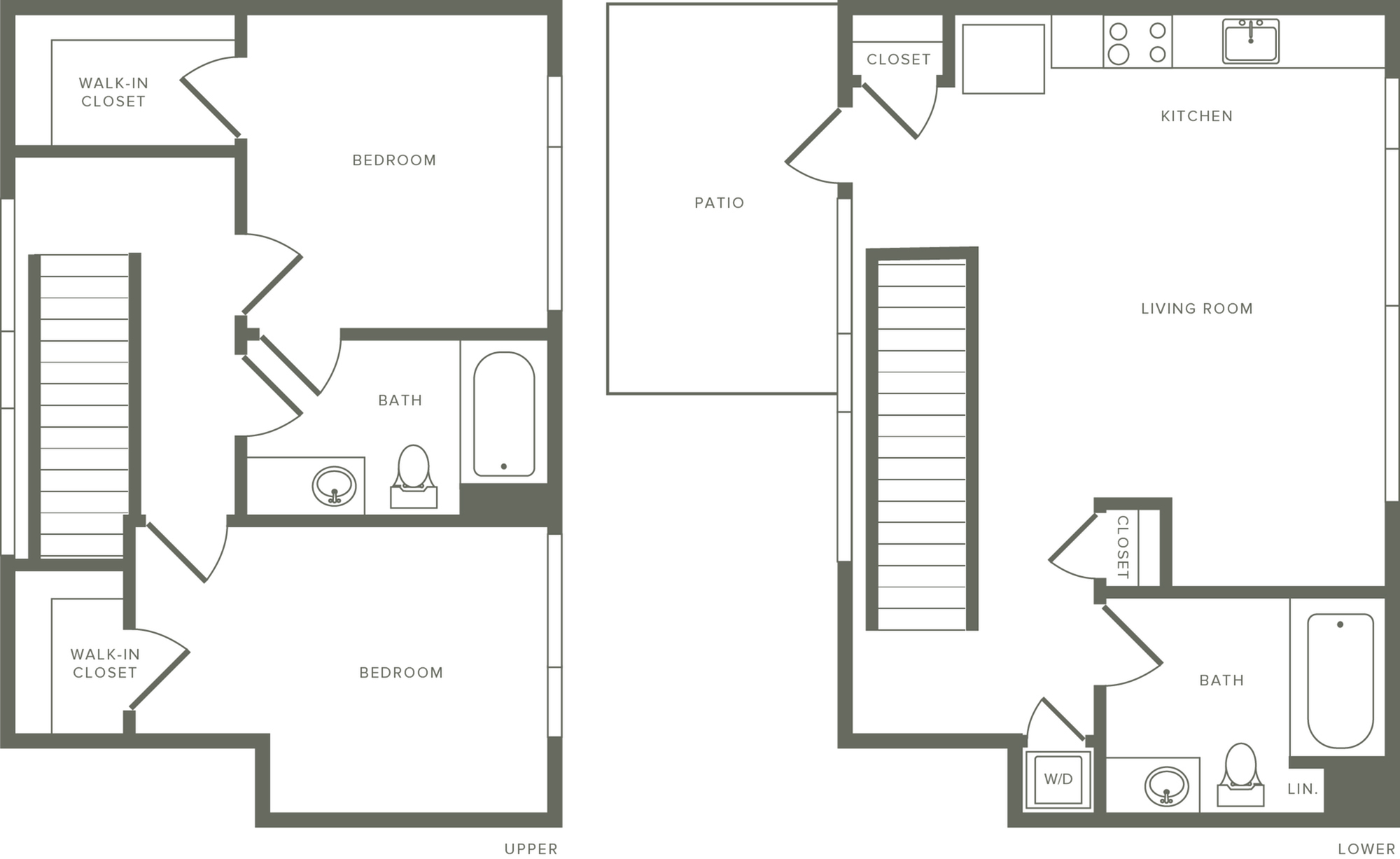 1,053 square foot two bedroom two bath apartment two story penthouse floorplan image