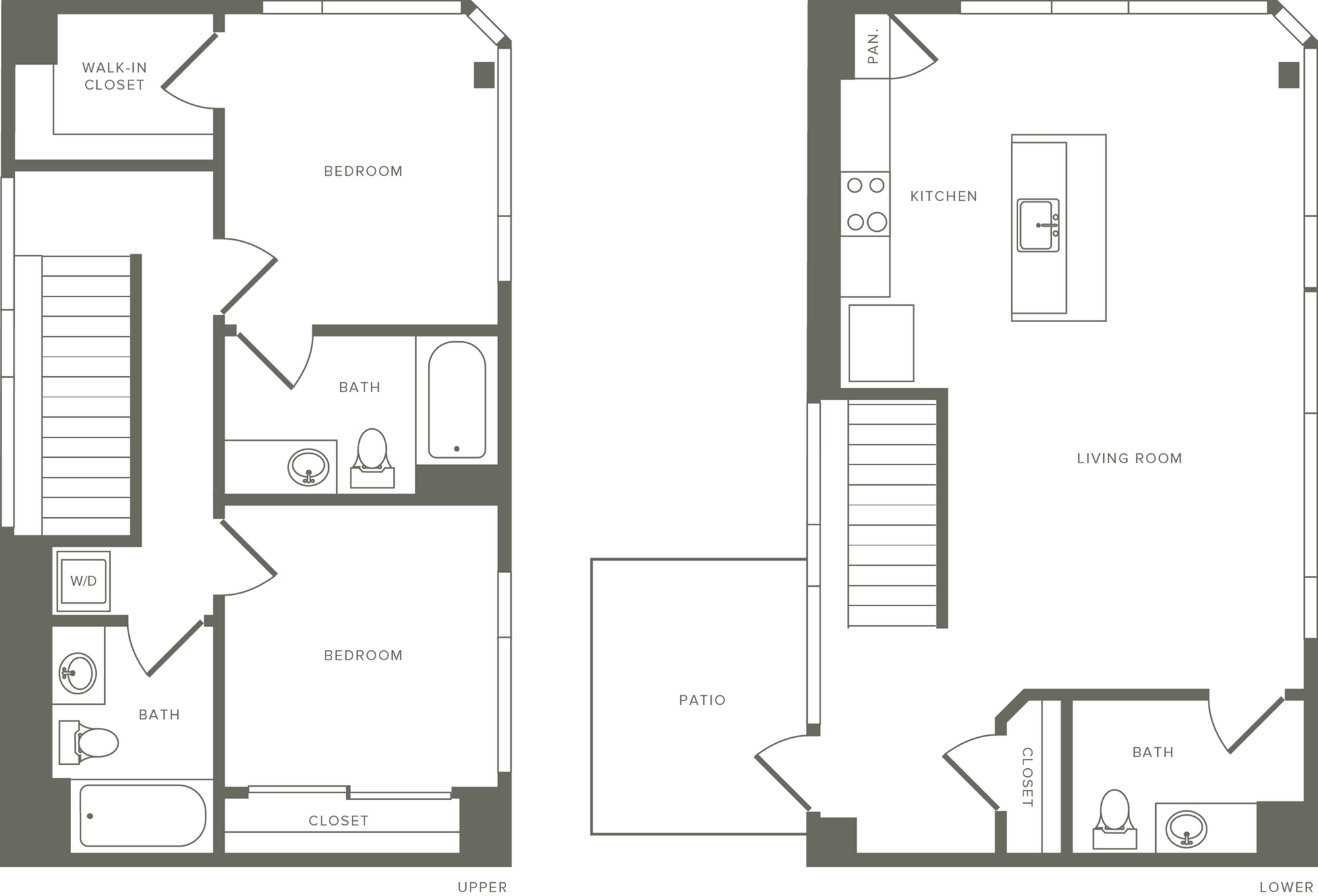1,254-1,266 square foot two bedroom three bath apartment two story penthouse floorplan image