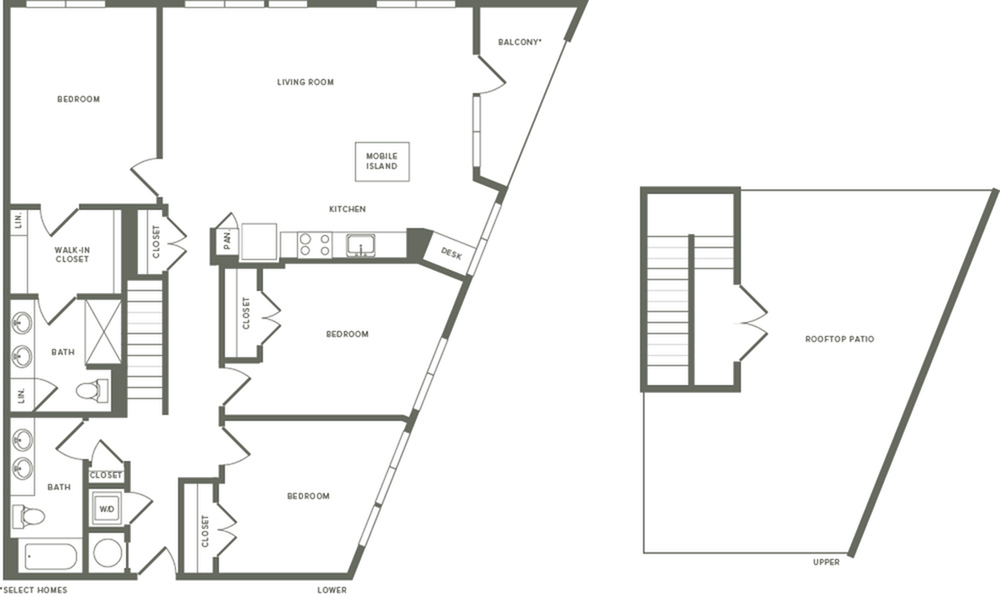 1576 square foot three bedroom two bath with rooftop patio apartment floorplan image