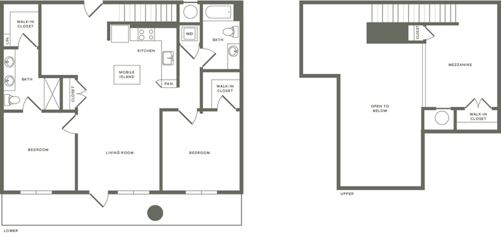 1379 square foot two bedroom two bath with mezzanine apartment floorplan image