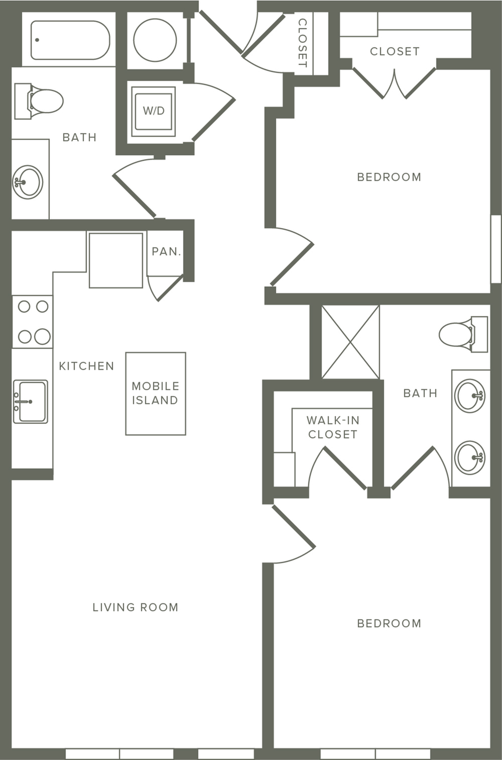 950 square foot two bedroom two bath apartment floorplan image