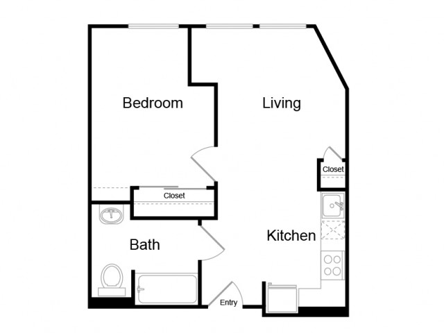 465 square foot one bedroom one story apartment floor plan