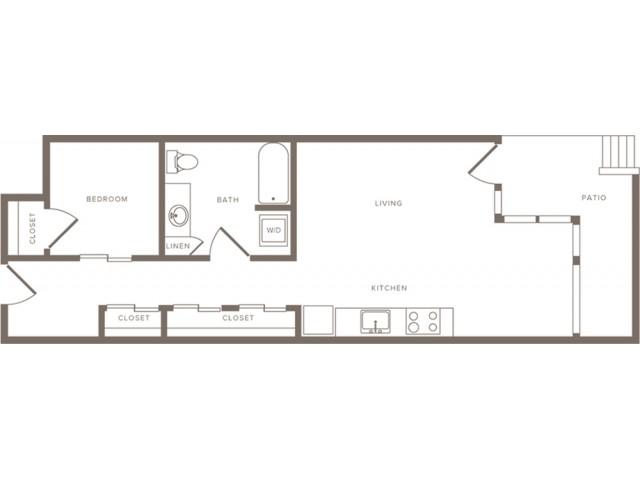 790 square foot one bedroom one bath apartment floorplan image