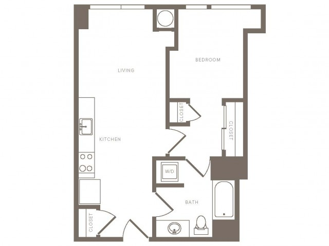 640 square foot one bedroom one bath floor plan image redraw without balcony for homes 307-1207