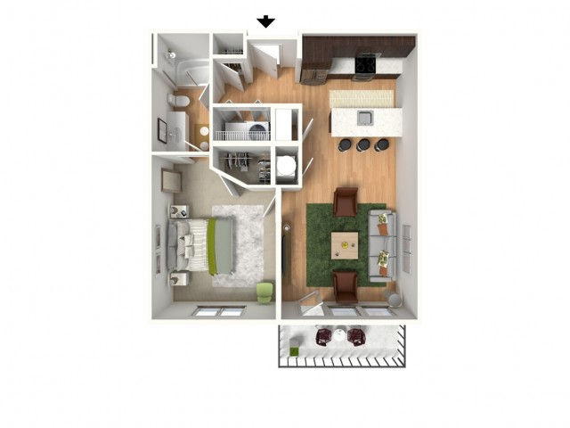 1 Bedroom Floor Plan | Lees Summit Apartments | Summit Square