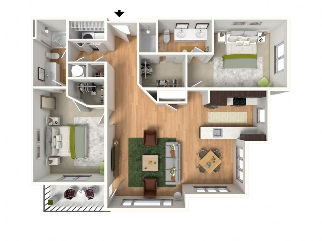 2 Bdrm Floor Plan | Lees Summit Luxury Apartments | Summit Square