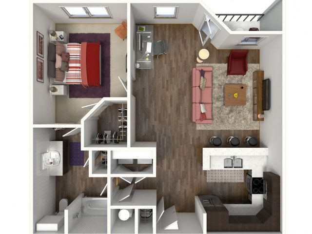 1 Bdrm Floor Plan | Apartments Kansas City | Kinsley Forest