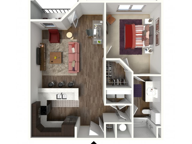 1 Bedroom Floor Plan | Kansas City Apartments | Kinsley Forest