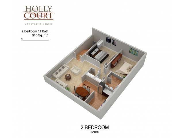 2 Bedroom Floor Plan | Apartments In Pitman New Jersey | Holly Court