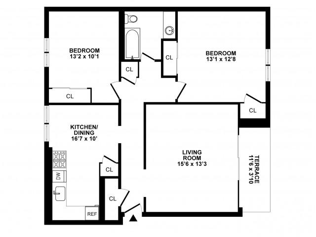 2 Bedroom Floor Plan | Hatboro Apartments | Livingstone