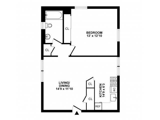 1 Bedroom Floor Plan | Hatboro Apartments | Livingstone