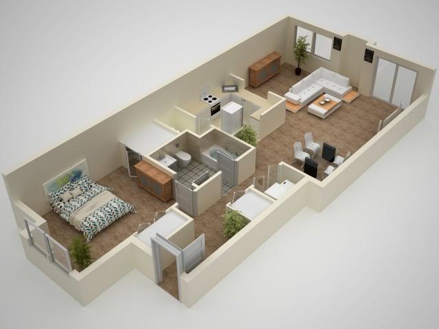 1 Bedroom Floor Plan | Elkton MD Apartments | The Apartments at Iron Ridge