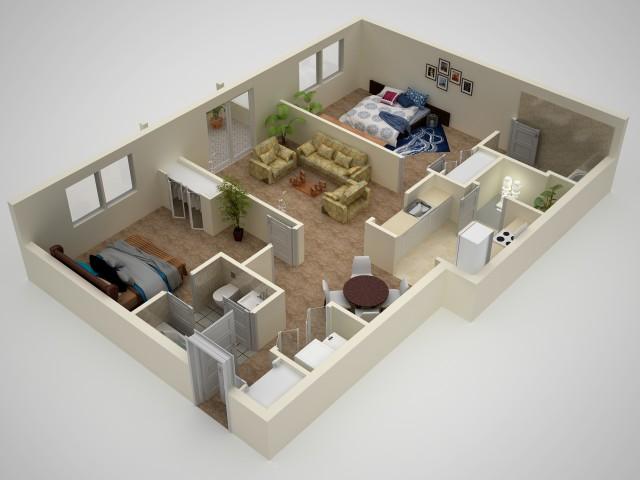 2 Bedroom Floor Plan | Apartments In Elkton MD | The Apartments at Iron Ridge