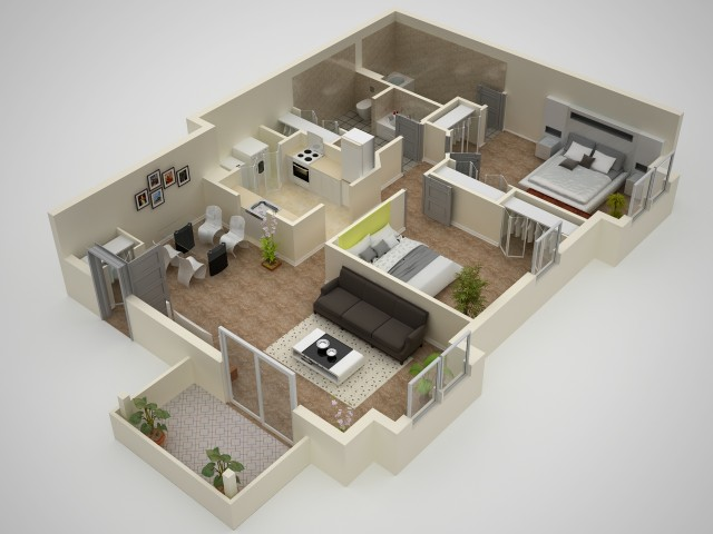 2 Bdrm Floor Plan | Elkton Maryland Apartments | The Apartments at Iron Ridge