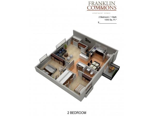 Floor Plan 2 | Bensalem Apartments | Franklin Commons