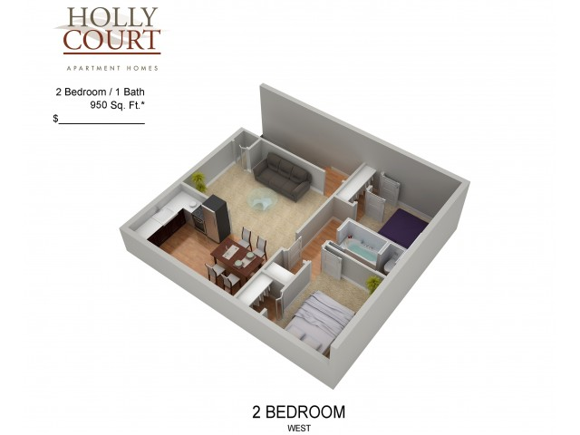 Floor Plan 46 | Pitman NJ Apartments | Holly Court