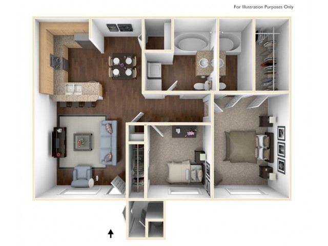 2 bedroom, 2 bathroom apartment home.