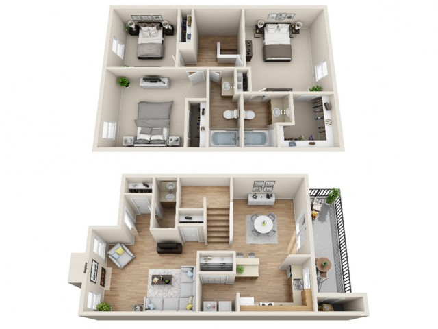 3 bedroom, 2.5 bathroom apartment home