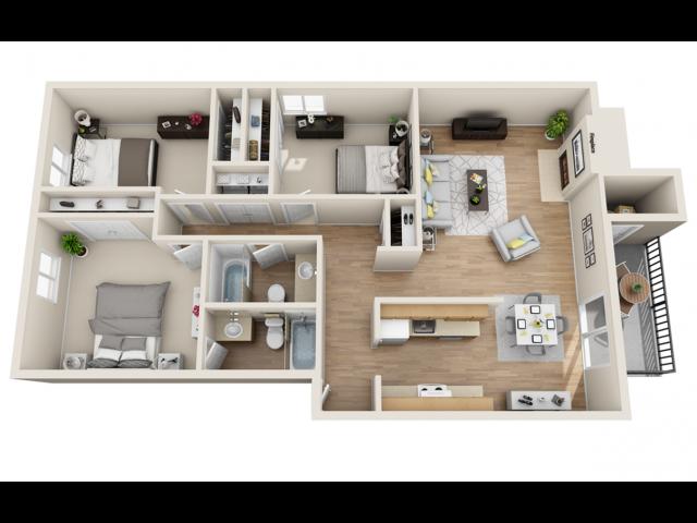 3 bedroom, 2 bathroom apartment home