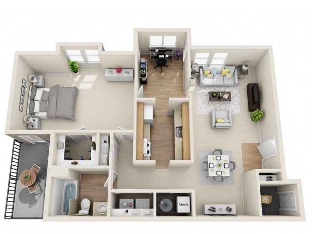 1 bedroom, 1 bathroom apartment home