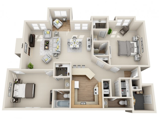 2 bedroom, 2.5 bathroom apartment home