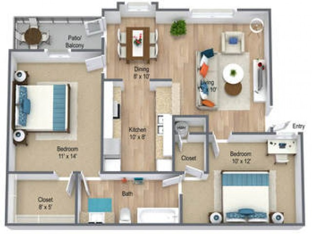 Two Bedroom/ One Bath 815 sq feet
