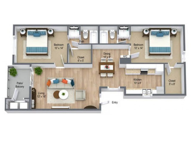 Two Bedroom/ Two Bath 980 sq feet